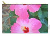 Watercolor Pink Hibiscus Blooms Vertical Carry-all Pouch