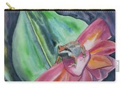 Watercolor - Small Tree Frog On A Colorful Flower Carry-all Pouch