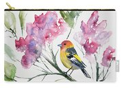 Watercolor - Western Tanager In A Flowering Tree Carry-all Pouch