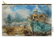 Watercolour Painting Of Abandoned Fishing Boat On Beach Landscap Carry-all Pouch