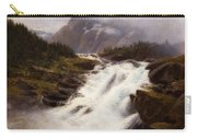 Waterfall In Norweigian Mountain Landscape Carry-all Pouch