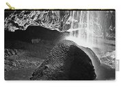 Waterfall Of The Caverns Black And White Carry-all Pouch