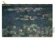 Waterlilies Green Reflections Carry-all Pouch by Claude Monet