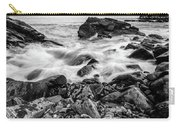 Waves Against A Rocky Shore In Bw Carry-all Pouch by Doug Camara