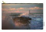 Waves Crashing Over The Jetty Carry-all Pouch