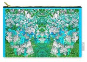 Waxleaf Privet Blooms In Aqua Hue Abstract With Aqua Frame Carry-all Pouch