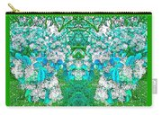 Waxleaf Privet Blooms In Aqua Hue Abstract With Green Frame Carry-all Pouch