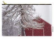 Wayside Inn Red Barn Covered In Snow Storm Reflection Carry-all Pouch