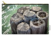 Weathered Wood Pier Posts In Lake Michigan Carry-all Pouch