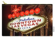 R.i.p. Welcome To Downtown Las Vegas Sign At Night Carry-all Pouch