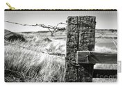 Western Barbed Wire Fence Black And White Carry-all Pouch