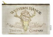 Western Range 3 Old West Deer Skull Wooden Sign Trading Company Carry-all Pouch