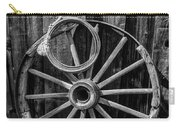 Western Rope And Wooden Wheel In Black And White Carry-all Pouch