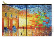 Western Wall Jerusalem Wailing Wall Acrylic Painting 2 Panels Carry-all Pouch