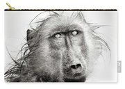 Wet Baboon Portrait Carry-all Pouch by Johan Swanepoel