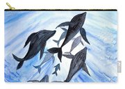 Whale Family On Sun Ray Carry-all Pouch
