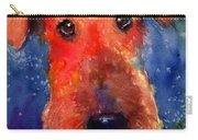 Whimsical Airedale Dog Painting Carry-all Pouch