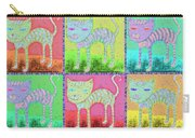 Whimsical Colorful Tabby Cat Pop Art Carry-all Pouch