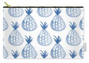 White And Blue Pineapple Party Carry-all Pouch by Linda Woods