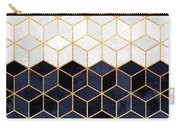 White And Navy Cubes Carry-all Pouch by Elisabeth Fredriksson