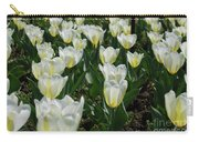 White And Pale Yellow Tulips In A Bulb Garden Carry-all Pouch