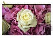 White And Pink Roses Carry-all Pouch