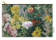 White And Yellow Chrysanthemums Carry-all Pouch by Gustave Caillebotte