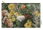 White And Yellow Chrysanthemums In The Garden At Petit Gennevilliers Carry-all Pouch