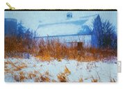 White Barn In Snowstorm Carry-all Pouch