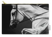 White Beautiful Horse B And W Carry-all Pouch
