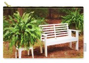 White Bench Sitting In A Beautiful Garden 2 Carry-all Pouch