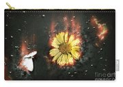 White Butterfly And Yellow Flower Carry-all Pouch