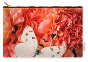 White Butterfly On Pink Carnations Carry-all Pouch