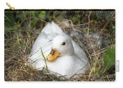 White Call Duck Sitting On Eggs In Her Nest Carry-all Pouch