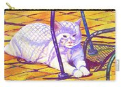 White Cat On Patio Carry-all Pouch