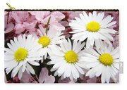White Daisies Flowers Art Prints Spring Pink Blossoms Baslee Carry-all Pouch
