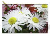 White Daisy Floral Art Print Canvas Pink Blossom Baslee Troutman Carry-all Pouch