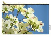 White Dogwood Flowers 1 Blue Sky Landscape Artwork Dogwood Tree Art Prints Canvas Framed Carry-all Pouch