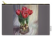 White-edged Red Tulips Carry-all Pouch