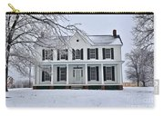 White Farm House During Winter Carry-all Pouch