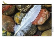 White Feather On River Stones Carry-all Pouch