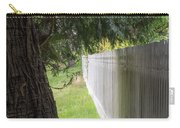White Fence And Tree Carry-all Pouch by Tom Singleton