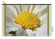 White Flower Abstract With Border Carry-all Pouch