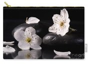 White Flowers Black Stones Carry-all Pouch