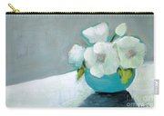 White Flowers In Blue Vase Carry-all Pouch