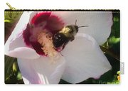 White Hibiscus Bloom With Bumble Bee Carry-all Pouch