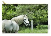 White Horse In A Green Pasture Carry-all Pouch