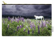 White Horse In A Lupine Storm Carry-all Pouch