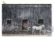 White Horse In A Snowstorm  Carry-all Pouch