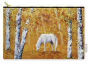 White Horse In Golden Woods Carry-all Pouch